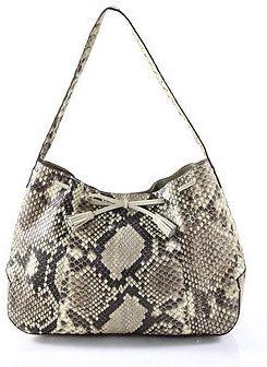 Designer Multi-Color Snakeskin Button Closure Shoulder Handbag