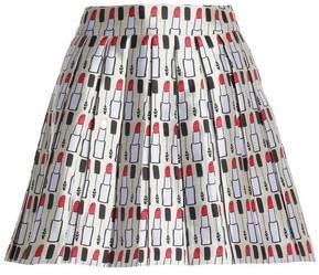 Alice+olivia Woman Pleated Printed Twill Mini Skirt Cream Size 4 Alice & Olivia 9b94Qh
