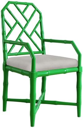 Bungalow 5 Jardin Faux Bamboo Lattice Arm Chair in Green