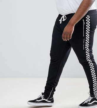 Criminal Damage Skinny Joggers With Checkerboard Stripe Exclusive To ASOS