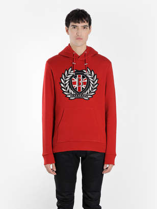 Balmain MEN'S RED EMBROIDERED HOODIE