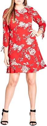 City Chic Scarlet Floral Fit & Flare Dress