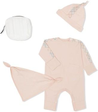 Burberry check three-piece baby gift set