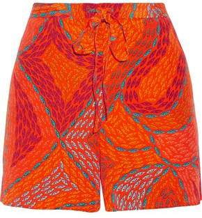 Issa Printed Silk Crepe De Chine Shorts