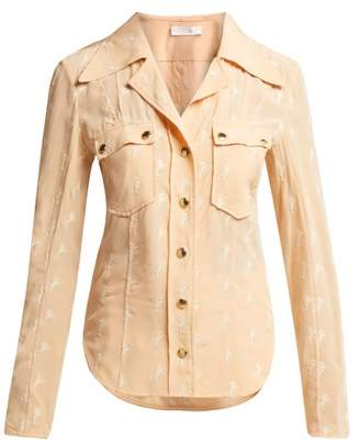 Chloé Horse Embroidered Silk Georgette Blouse - Womens - Light Pink