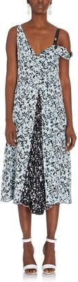 Proenza Schouler Floral Print Open Shoulder Dress