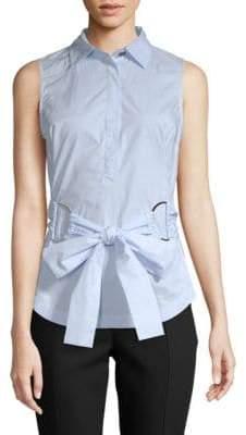 Derek Lam Front-Tie Sleeveless Cotton Top