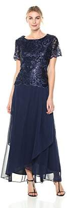 Alex Evenings Women's Embroidered Mock Dress with Wrap Skirt