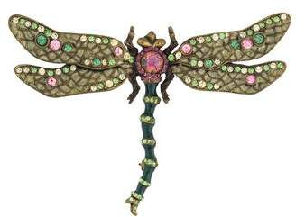 Jay Strongwater Crystal & Enamel Dragonfly Brooch