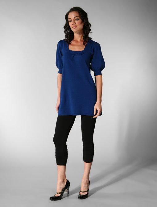 Ella Moss Partridge Silk Cashmere Short Sleeve Square Neck Sweater in Electric Blue