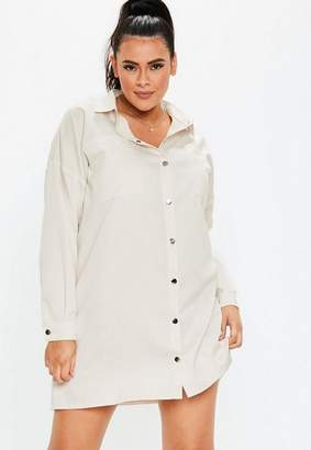 Missguided Plus Size Sand Pocket Detail Shirt Dress