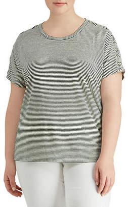 Lauren Ralph Lauren Plus Lace-Up-Sleeve T-Shirt