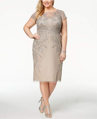 Adrianna Papell Plus Size Beaded A-Line Dress