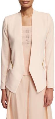 Magaschoni Crepe Zip-Pocket Jacket
