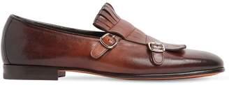 Santoni Fringed Leather Monk Strap Shoes