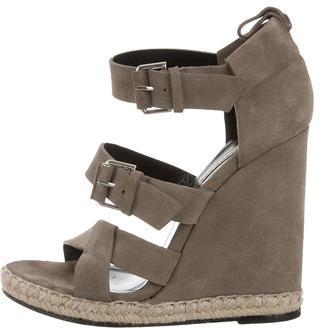 Balenciaga Balenciaga Jute-Accented Suede Wedge Sandals