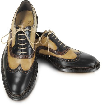 4bb0f2cd886c Forzieri Italian Handcrafted Two-tone Wingtip Oxford Shoes