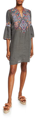 Johnny Was Plus Size Shankara Embroidered Flare-Sleeve Linen Tunic Dress