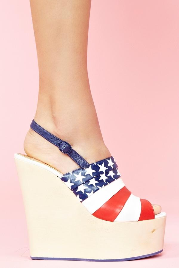 Nasty Gal Chica Chola Platform Wedge - American Flag