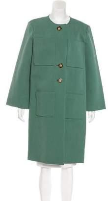 Trademark Collarless Knee-Length Coat w/ Tags