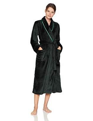Arabella Women's Shawl Collar Textured Plush Long Robe with Satin Trim