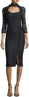 Alexis Fiorenza Mock-Neck Fitted Lace Cocktail Dress