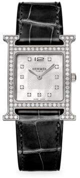 Hermes Heure H Diamond, Stainless Steel& Alligator Strap Watch