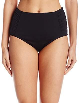 Jantzen Women's Solid Side Shirred High Waist Bikini Bottom $38.38 thestylecure.com