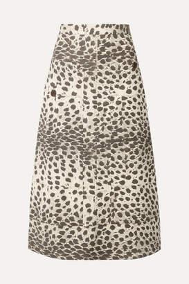 Sea Leopard-print Cotton-canvas Midi Skirt - Leopard print