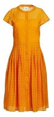 Akris Punto Button-Front Cap Sleeve Lace A-Line Shirt Dress