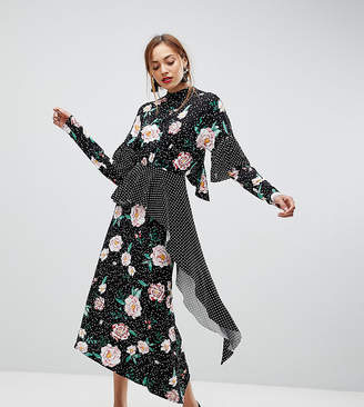 Asos Tall TALL Mixed Print Deconstructed Tea Dress with Open Back
