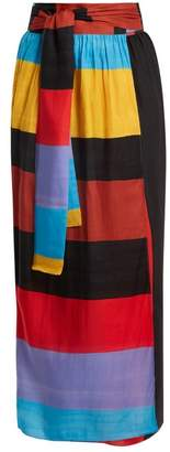 Mara Hoffman Cora Tie Waist Striped Wrap Skirt - Womens - Black Multi
