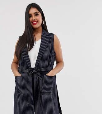Simply Be Tailored sleeveless jacket with belted waist in navy pinstripe