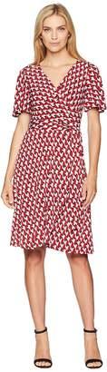Donna Morgan Geo Jersey Wrap Dress with Flutter Sleeve Women's Dress