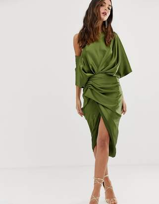 Asos Edition EDITION drape asymmetric midi dress in satin