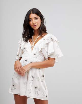 Oh My Love Satin Plunge Romper With Frill Sleeves