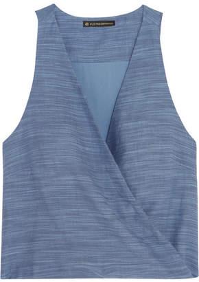 Vix - Wrap-effect Cotton-chambray Top - Light denim $100 thestylecure.com