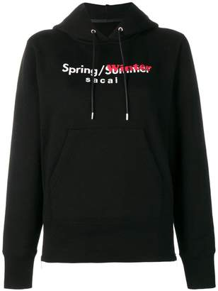 Sacai contrast logo print hoodie