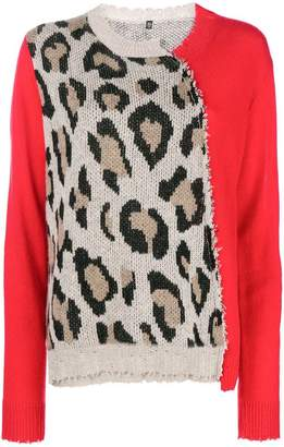 R 13 leopard knit jumper
