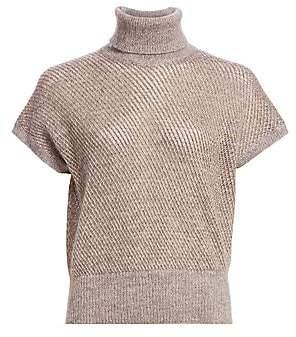 Brunello Cucinelli Women's Open-Knit Short Sleeve Turtleneck Sweater