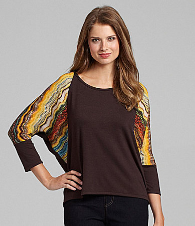 Westbound Woman Mixed-Media Dolman-Sleeve Top
