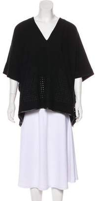 Zero Maria Cornejo Eyelet-Trimmed V-Neck Sweater
