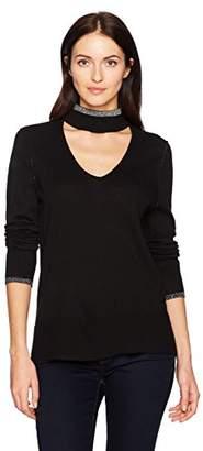 Calvin Klein Jeans Women's Long Sleeve Deep V Choker Neck Sweater