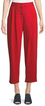 A.L.C. Russel Cropped Button-Fly Crepe Pants