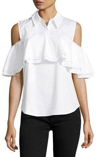 Trina Turk Polished Shirting Ruffled Cold-Shoulder Top