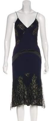 Yigal Azrouel Mesh Trim Midi Dress
