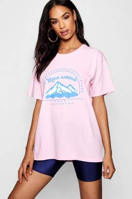 boohoo Tall Mon Amour Placement T-Shirt