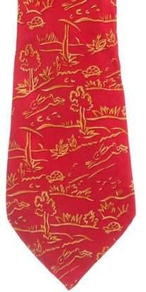 Salvatore Ferragamo Animal Print Silk Tie