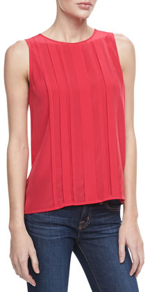 Joie Orah Pleated Sleeveless Blouse, Candy Red