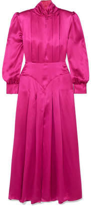 Alessandra Rich - Pleated Silk-satin Midi Dress - Fuchsia